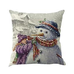 CUCUHAM Christmas Cotton Linen Sofa Car Home Waist Cushion C