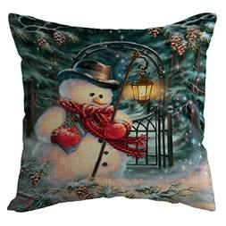 Seaintheson Christmas Pillow Covers 18 X 18 Inch, Xmas Snowm