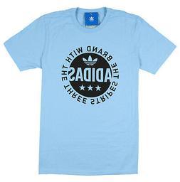 ADIDAS Circle Star Logo T-Shirt sz S Small Clear Blue Black