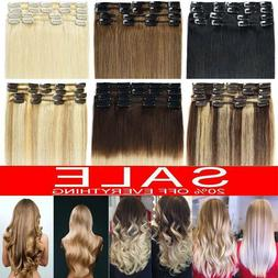 CLEARANCE Clip In Remy Human Hair Extensions Full Head Highl