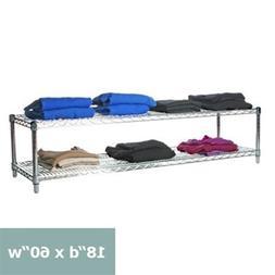 "Commercial Chrome Wire Unit 18 x 60-2 Shelf Unit - 18"" Heigh"