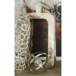 Contemporary 18 Inch Rectangular Silver Aluminum Vase by Stu