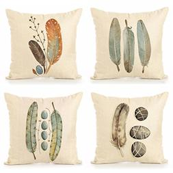 ULOVE LOVE YOURSELF Cotton Linen Throw Pillow Case Feathers