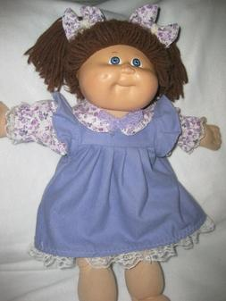 CPK 16-18 inch/doll clothes/purple flannel dress/lace/hair b