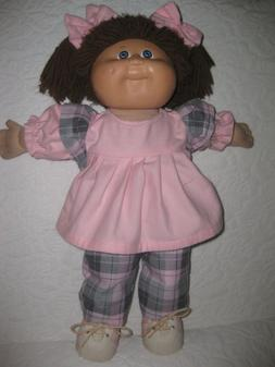 CPK doll clothes/16-18 inch/plaid pants/pink top/hair bows