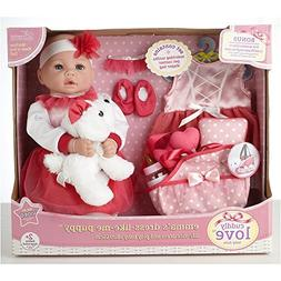 """Cuddly Love 18"""" Baby Doll Emma and Dress Like Me Puppy."""