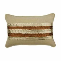 Decorative 12x18 inch Beige Linen Lumbar Oblong Pillow Cover