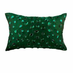 Decorative 12x18 inch Green Silk Lumbar Oblong Pillow Cover