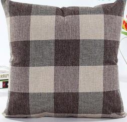 Decorative Coffee Plaid Throw Pillow Cushion Cover Case Cott