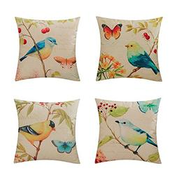 Heyhousenny Decorative Pillow Covers for Sofa Cotton Linen C