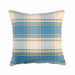 Decorative Plaid Blue Throw Pillow Cushion Cover Case Cotton