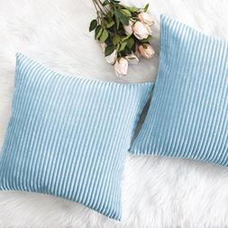 HOME BRILLIANT Decorative Soft Velvet Corduroy Striped Squar