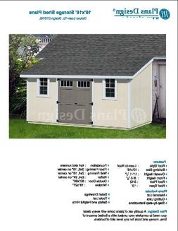 10' x 16' Deluxe Back Yard Storage Shed Project Plan, Lean T