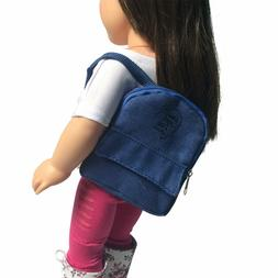 Denim Doll Backpack For 18 inch Doll - Pink Doll Backpack Fi