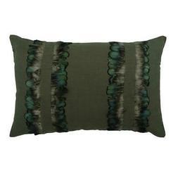 """Designer 12""""x18"""" Green Linen Lumbar Pillow Cover, Abstract -"""