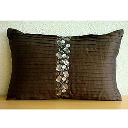 Designer Brown Lumbar Pillow Cover, Pintucks and Crystals Bl