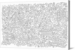 DIY Coloring Book Canvas Art entitled 0 0 5 Black and White
