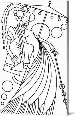 DIY Coloring Book Canvas Art entitled Art Deco Lady III