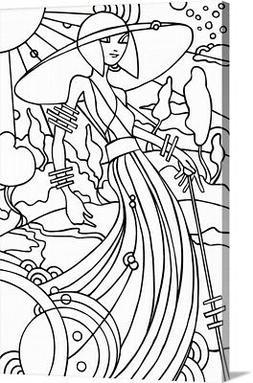 DIY Coloring Book Canvas Art entitled Art Deco Lady Stroll