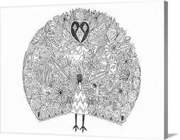 DIY Coloring Book Canvas Art entitled Peacock Garden
