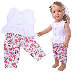 Euone  Doll Clothes, Wardrobe Ruffles Vest Shirts Floral Lon