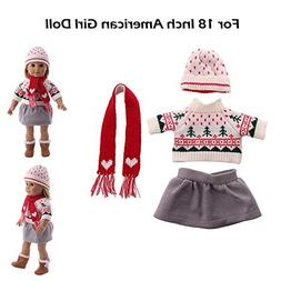 Euone  Doll Clothes, Girls Snowflake Sweater + Skirt + Cap +