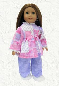 Doll Clothes Pajamas Pink & Lavender Patchwork Fit the 18 in