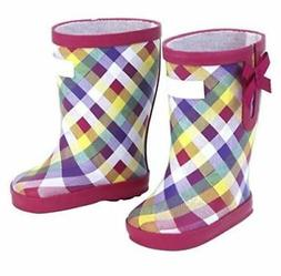 Doll Clothes Plaid Rain Boots Rubber For 18 Inch American Gi