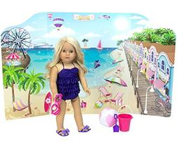 18 Inch Doll Playscene, Reversible Beach and Fashion Runway