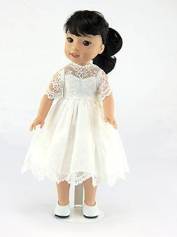 American Fashion World 14.5 INCH DOLL: White Lace Dress - Fi