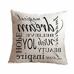 Leaveland Dream Inspirational Quote 18x18 Inch Cotton Linen