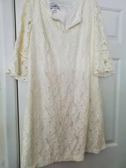 J Howard Dress,  Ivory With Lace Over Lay Size 18. 44 Inch B