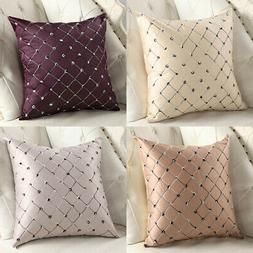 Embroidery Grid Cushion Cover Throw Pillow Case Sofa Home De