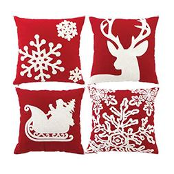 sykting Embroidery Throw Pillow Case 18x18 Christmas Pillow