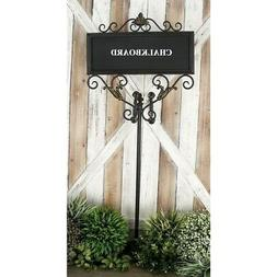 Farmhouse 42 x 18 Inch Rectangular Chalkboard with Stand by