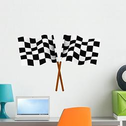 Wallmonkeys Finishing Checkered Flag Wall Decal Peel and Sti