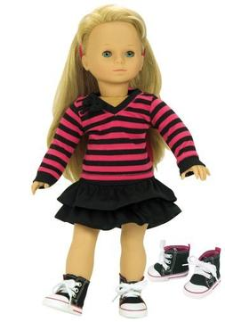Fits American Girl Dolls 3 Pc. Set of 18 Inch Doll Clothing,