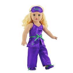 """Fits American Girl 18"""" Purple Pajamas PJs, Slippers, Eye Mas"""