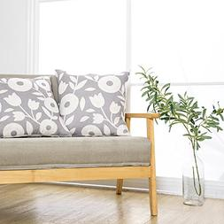 Floral Printed Cushion Cover Set Pillow Case Linen Textured