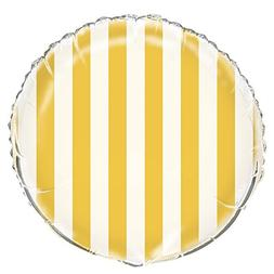 "Foil Striped Balloon, 18"", Yellow"