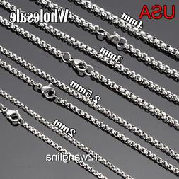 From USA  Wholesale Lots Silver Stainless Steel Box Chain Ne