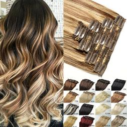 Full Head Clip in Remy Human Hair Extensions Double Wefted T