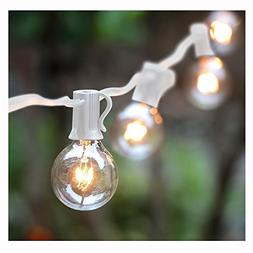 G40 String Lights with 25 Globe Bulbs-UL Listed for Indoor/O