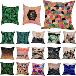 Geometric Printed Cotton Linen Throw Pillow Cases Sofa Cushi
