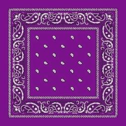 Grape Purple Paisley Center Cotton Bandana Scarf Handkerchie