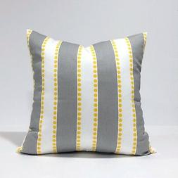 Gray Lulu Storm / Corn Yellow Twill Throw Pillow Cover, Grey