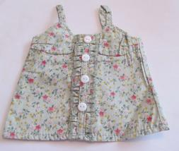 Green Floral Tank Top  Fits 18 inch American Girl Doll