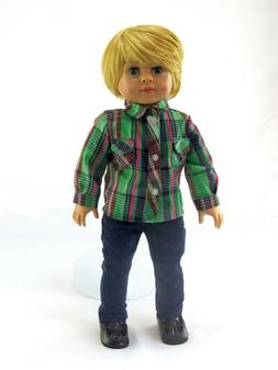 Green Plaid Shirt & Pants For 18 Inch American Girl Boy Doll