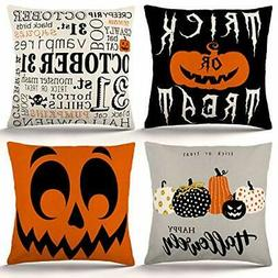 ZJHAI Halloween Pillow Covers 18×18 Inch Set of 4 Trick or