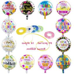 Happy Birthday Aluminum Foil Balloons  with 100 Meter Ribbon